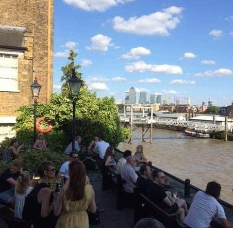 Wapping beer garden in London