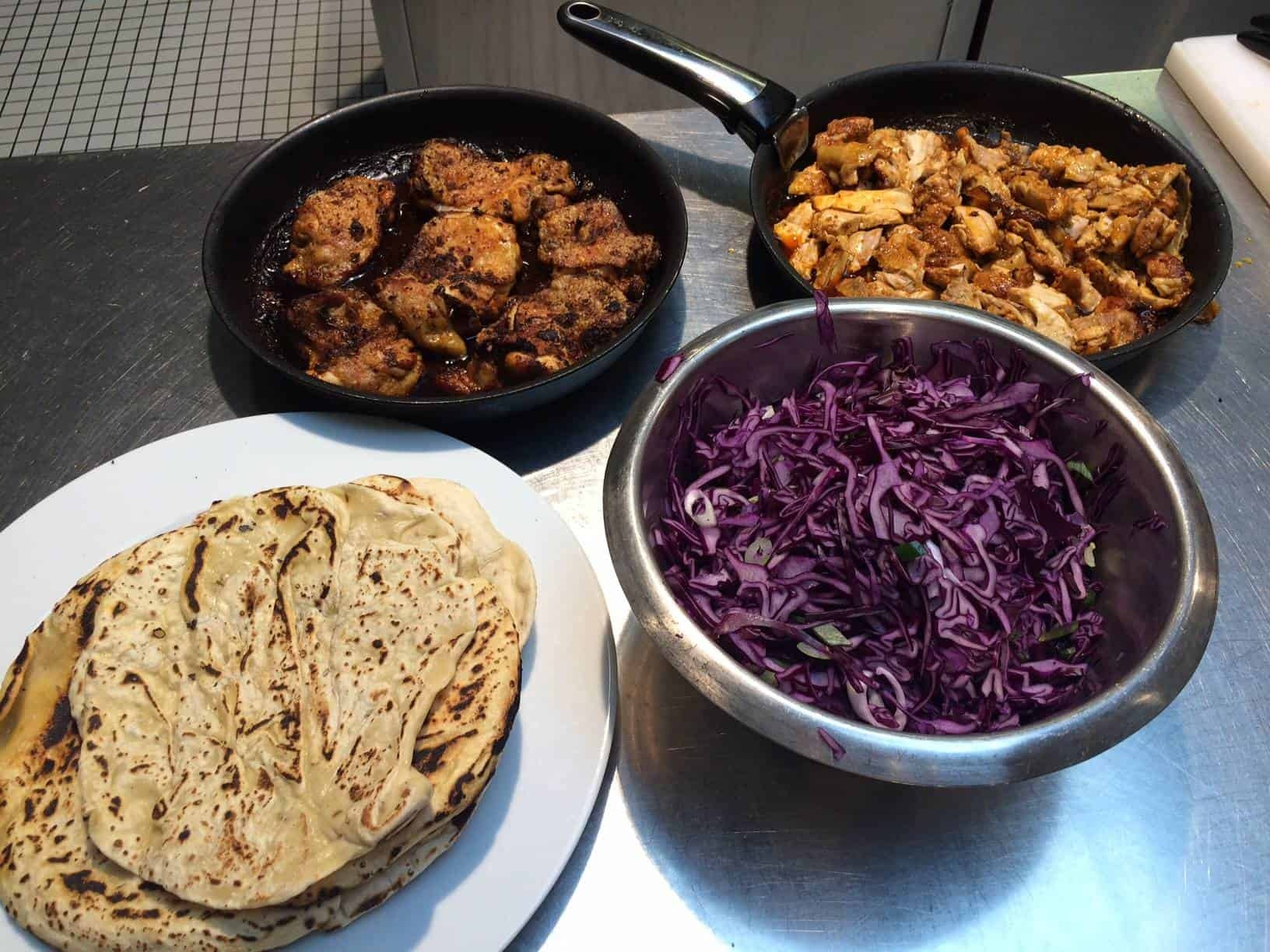 Chicken shwarmas with cabbage and mint yoghurt