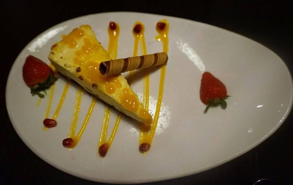 Mango and coconut cheesecake dessert