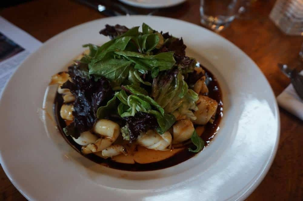 chargrilled squid at The Waterway