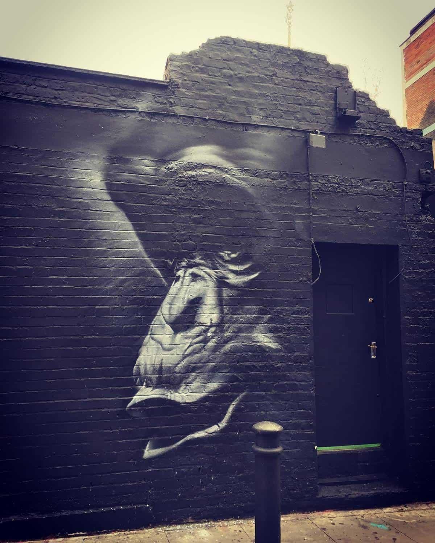 Street art of a gorilla in Shoreditch
