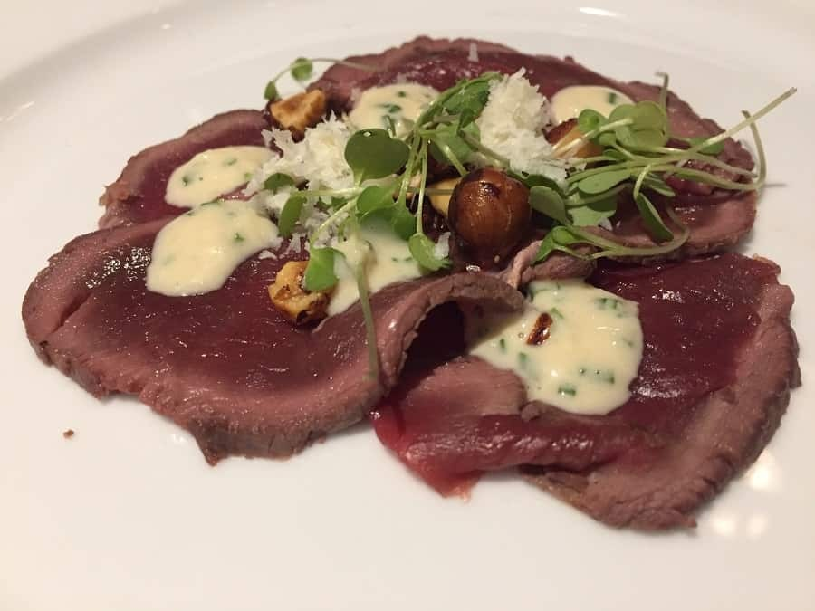 Venison carpaccio with 36 month Parmesan