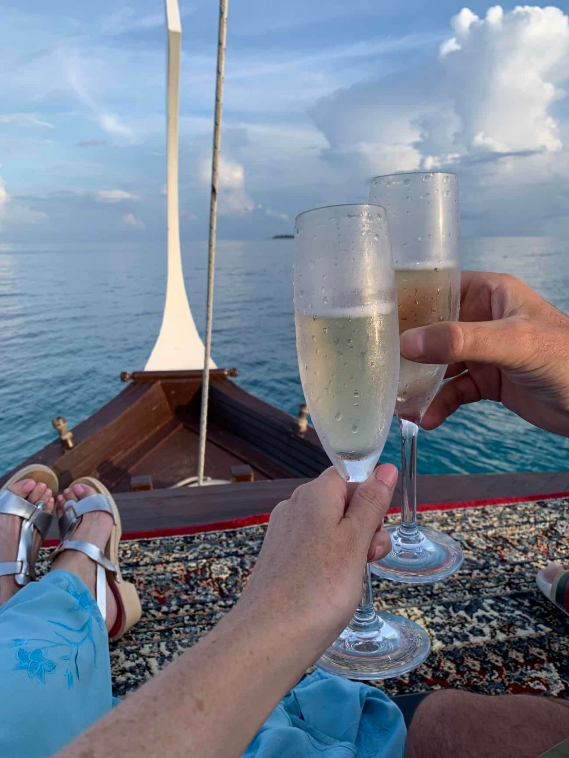 Sunset champagne cruise at Reethi Rah