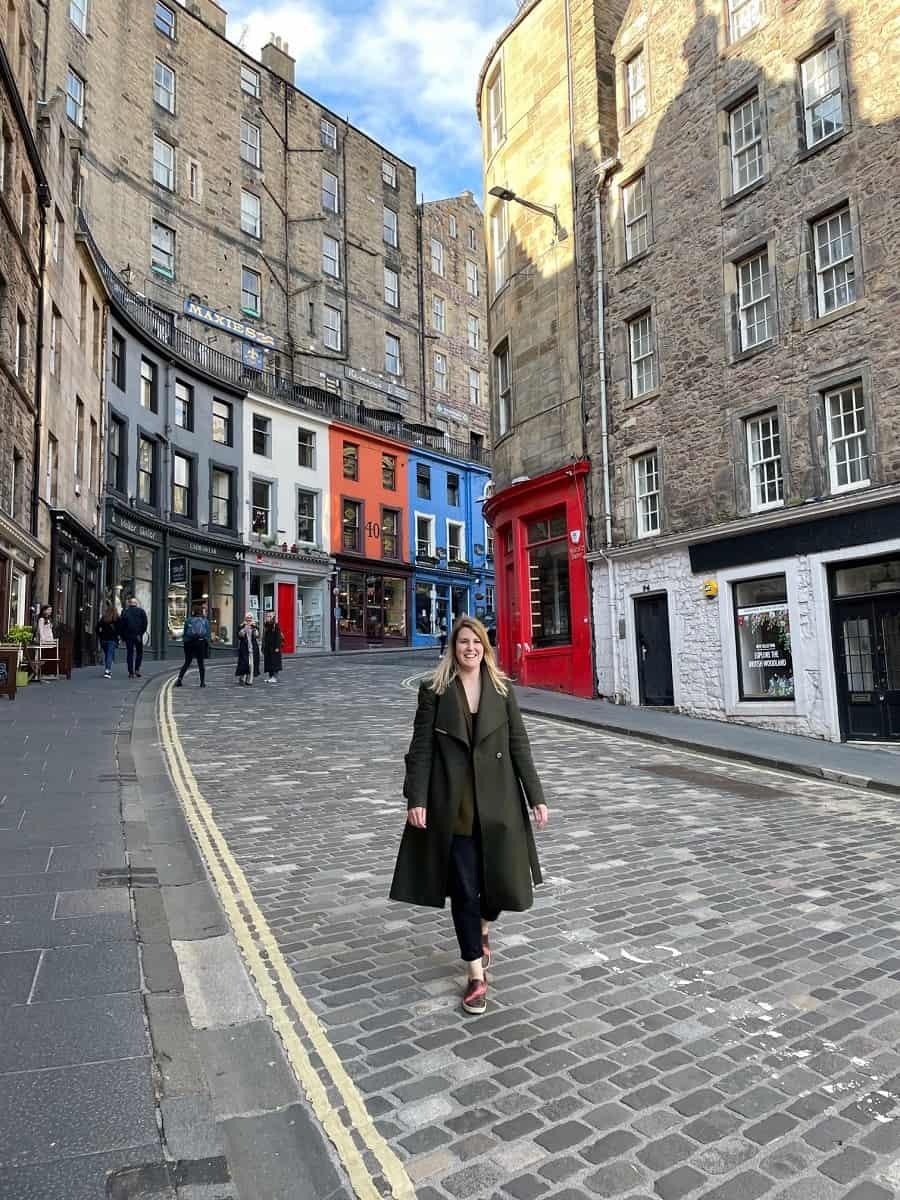 Colourful Victoria Street in Edinburgh