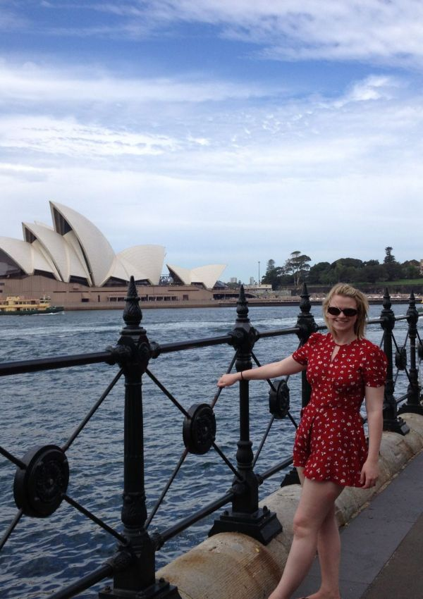 Laura stood in front of Sydney Harbour Bridge
