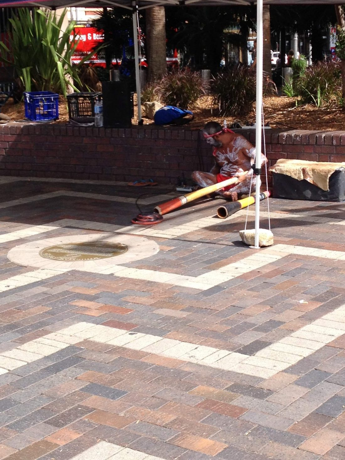 An aborigine playing the didgeridoo in Circular Quay