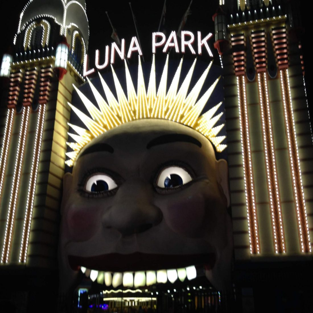 Luna Park, Sydney at night
