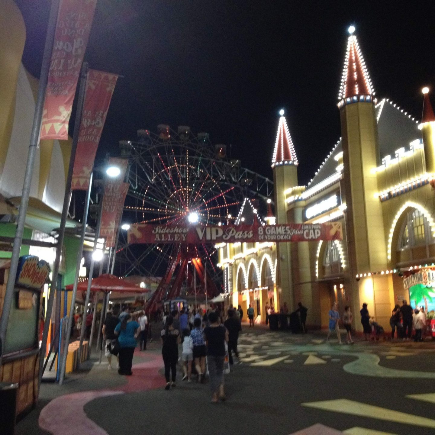 Inside Luna Park Sydney at night