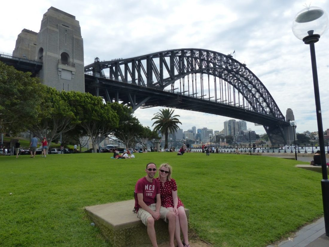 Laura and Paul in front of Sydney Harbour Bridge