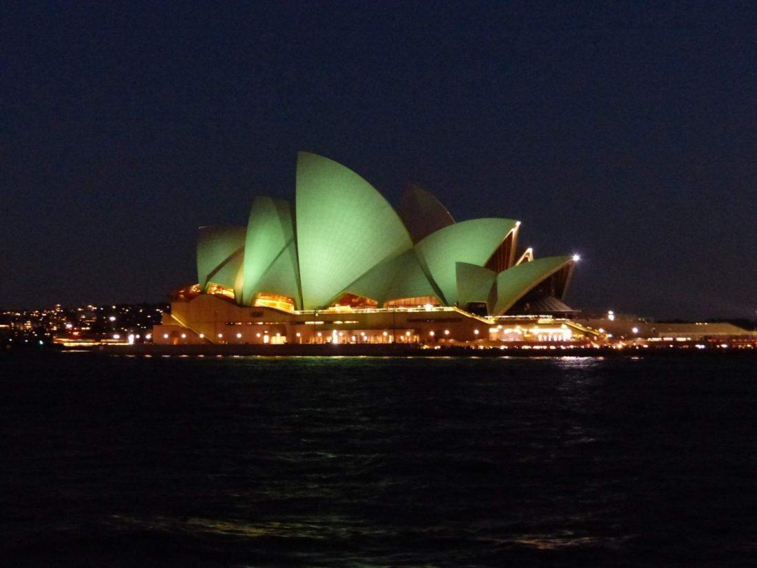 Sydney Opera House on St Patricks Day