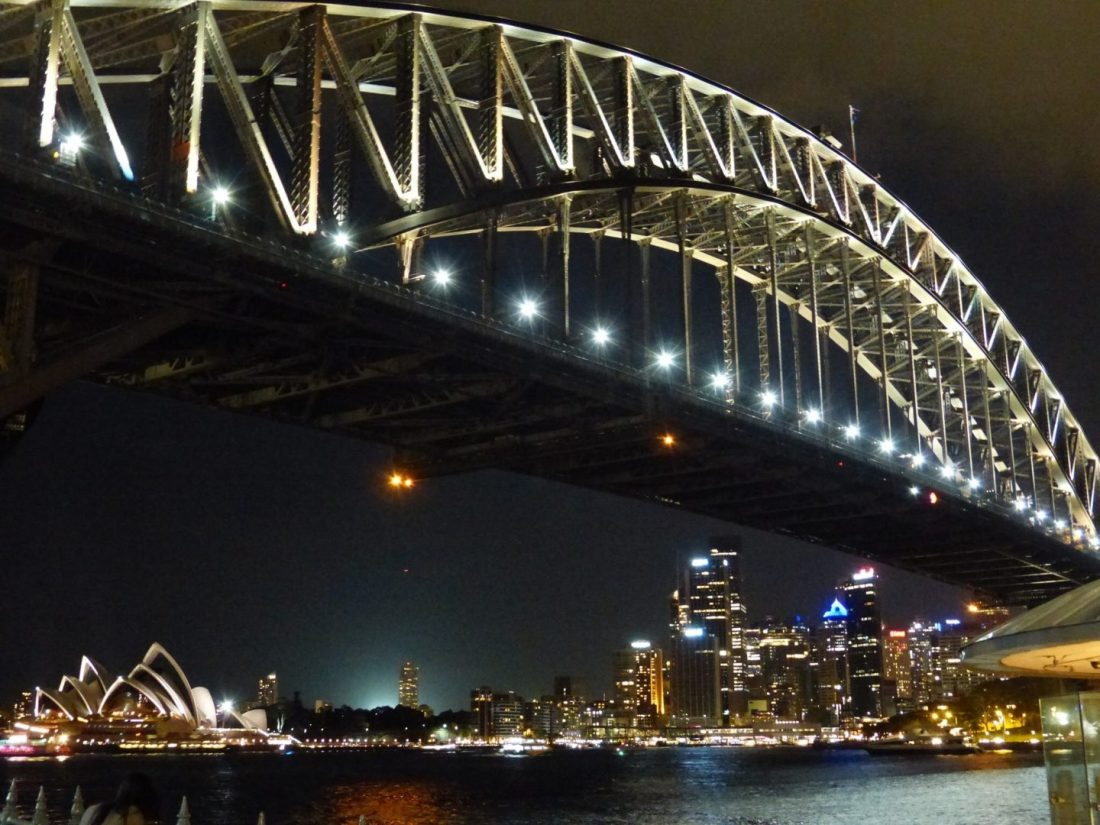Sydney Harbour Bridge and Sydney Opera House at night from Milsons Point