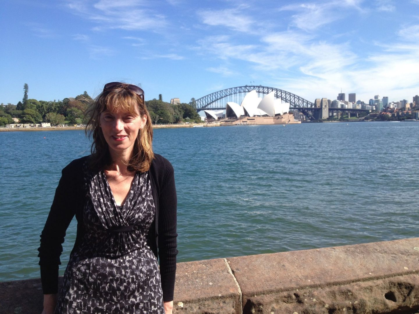 Mum in front of Sydney Harbour Bridge