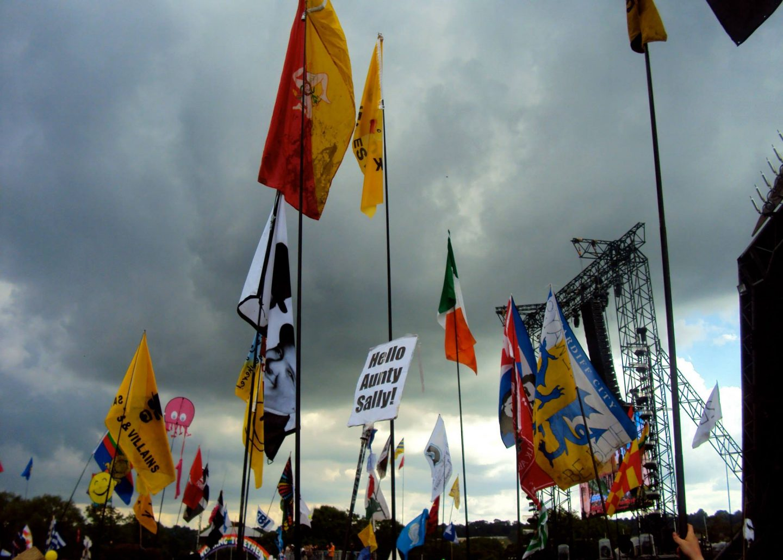 Flags at Glastonbury Festival