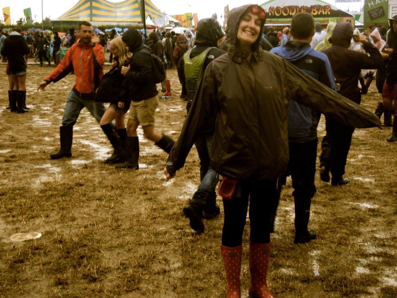 Jo in the mud at Glastonbury