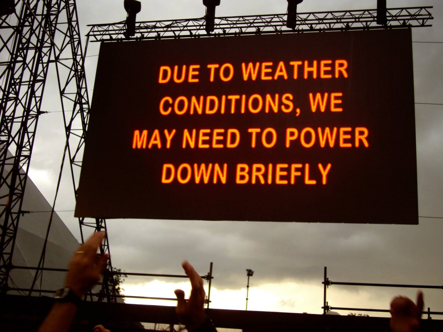 Stage powered down due to rain at Glastonbury