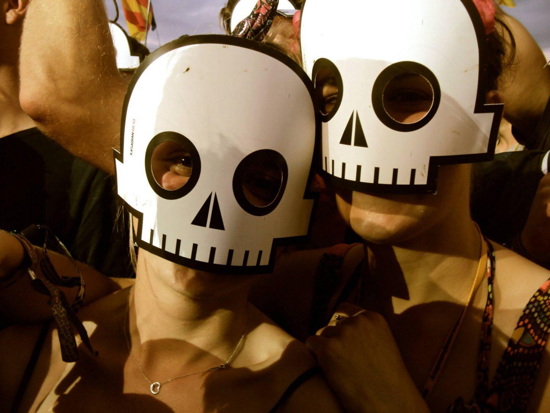 Wearing skeleton masks for Kasabian at Glastonbury Festival