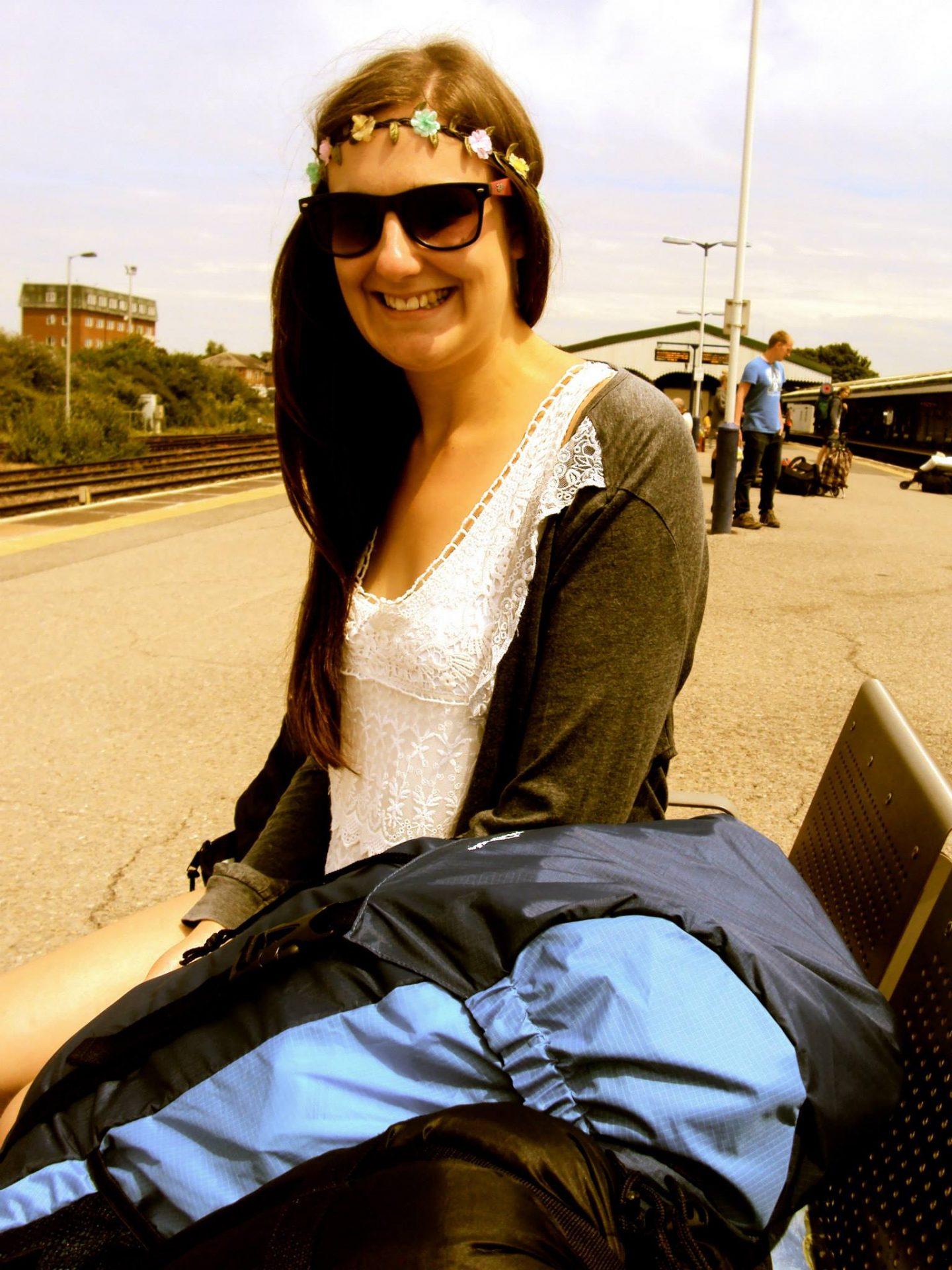Jo travelling to Glastonbury