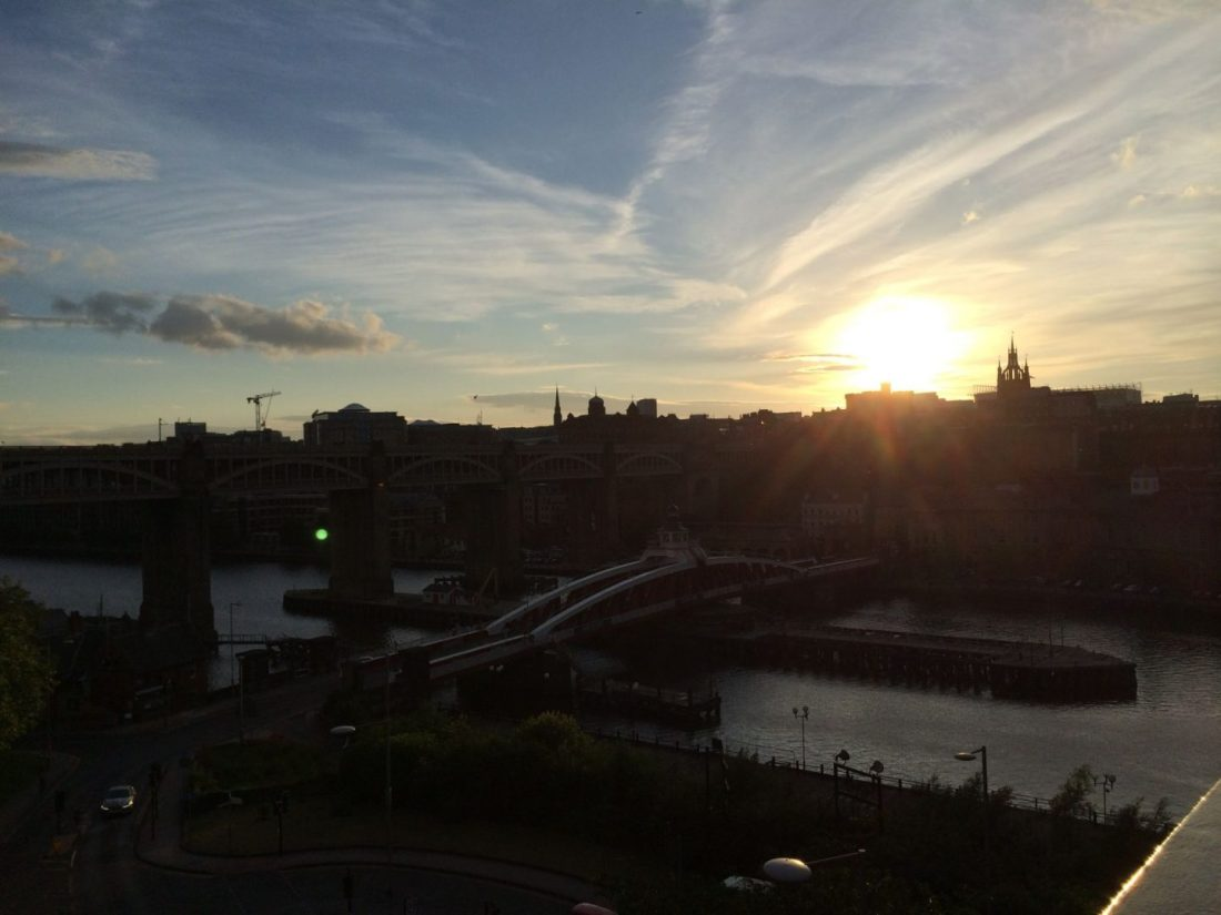 Views across Newcastle at sunset