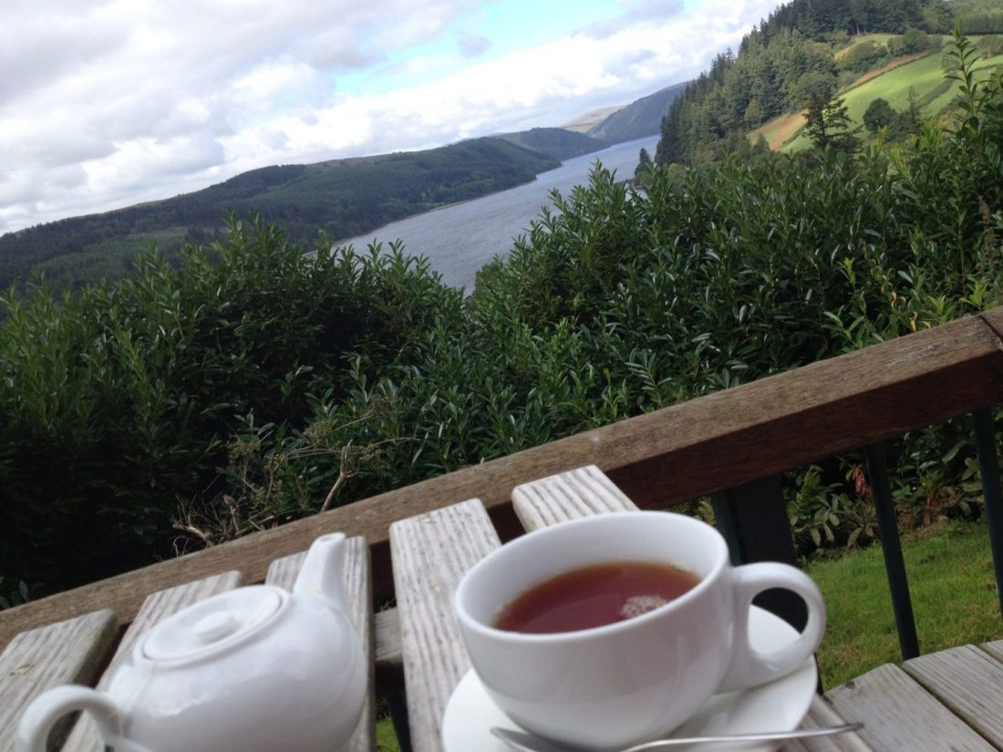 Enjoying a tea with a view of Lake Vyrnwy