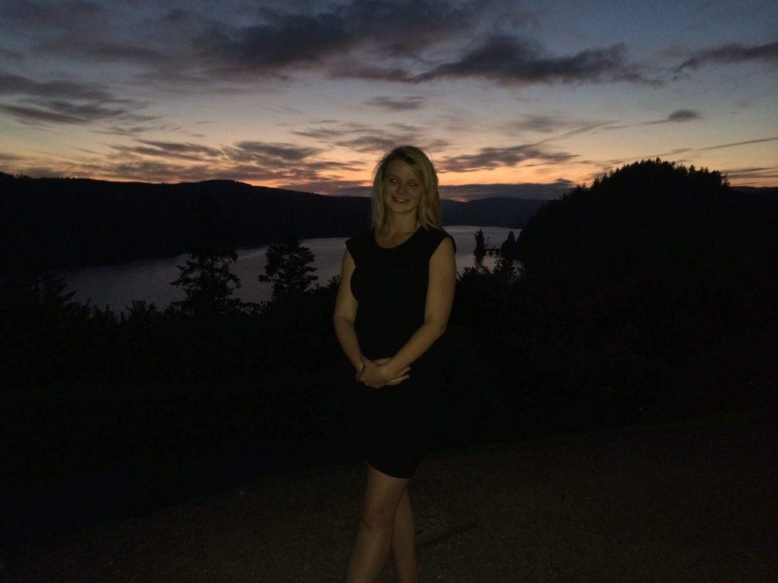 Laura at Lake Vyrnwy at sunset