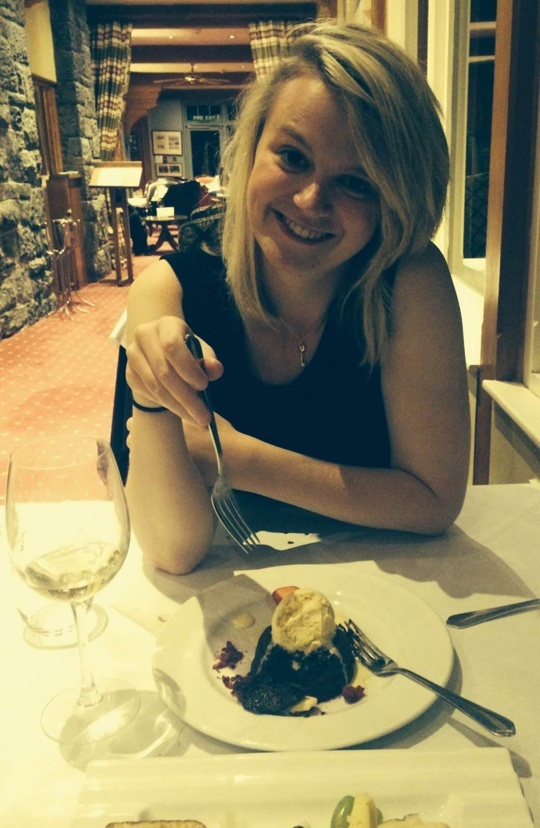Laura eating dessert at Lake Vyrnwy
