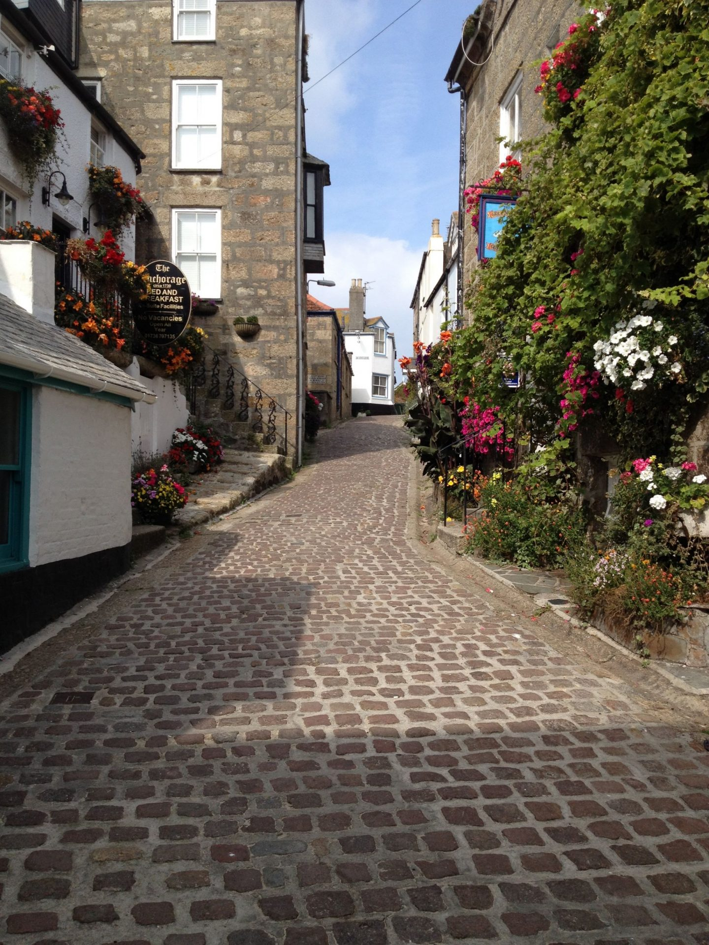Cobbled streets of St Ives, Cornwall