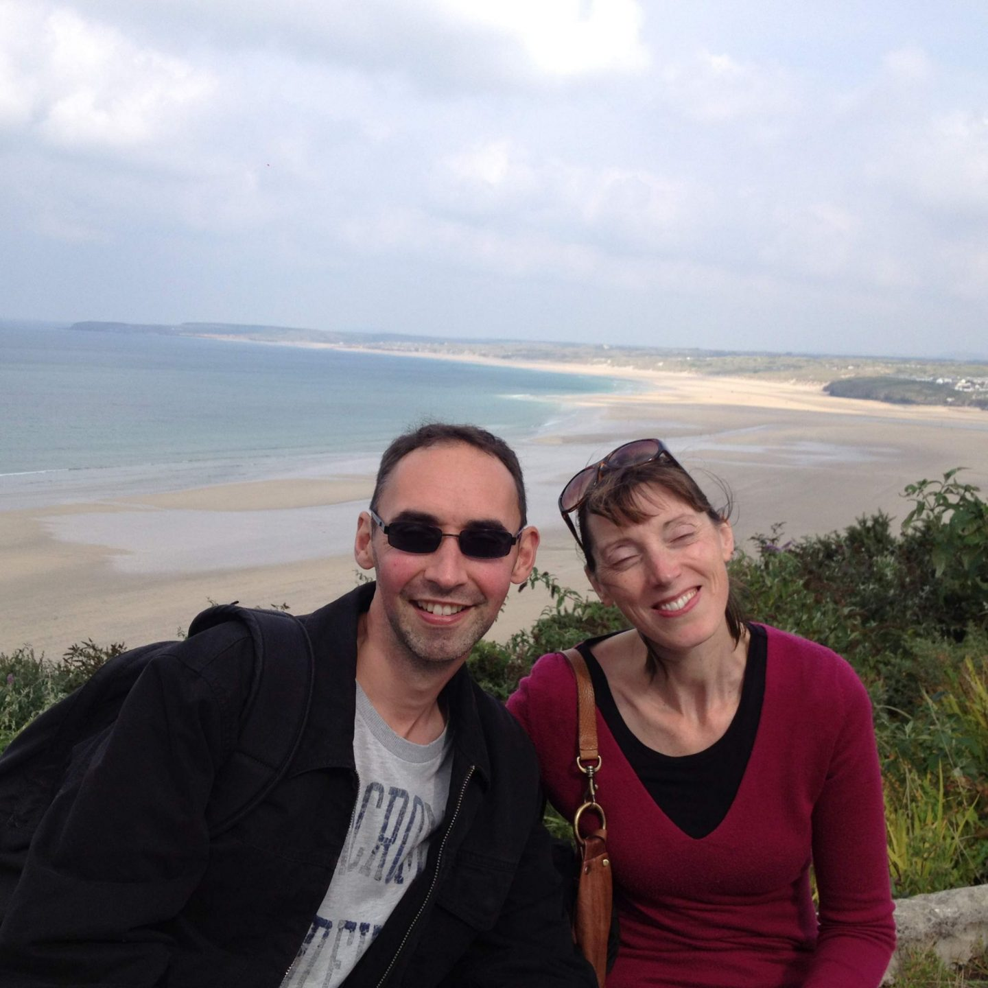 Mum and Paul at Porthkidney Beach, Cornwall