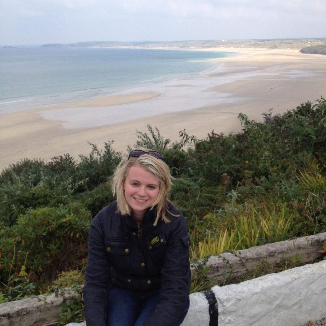 Laura overlooking Porthkidney Beach, Cornwall