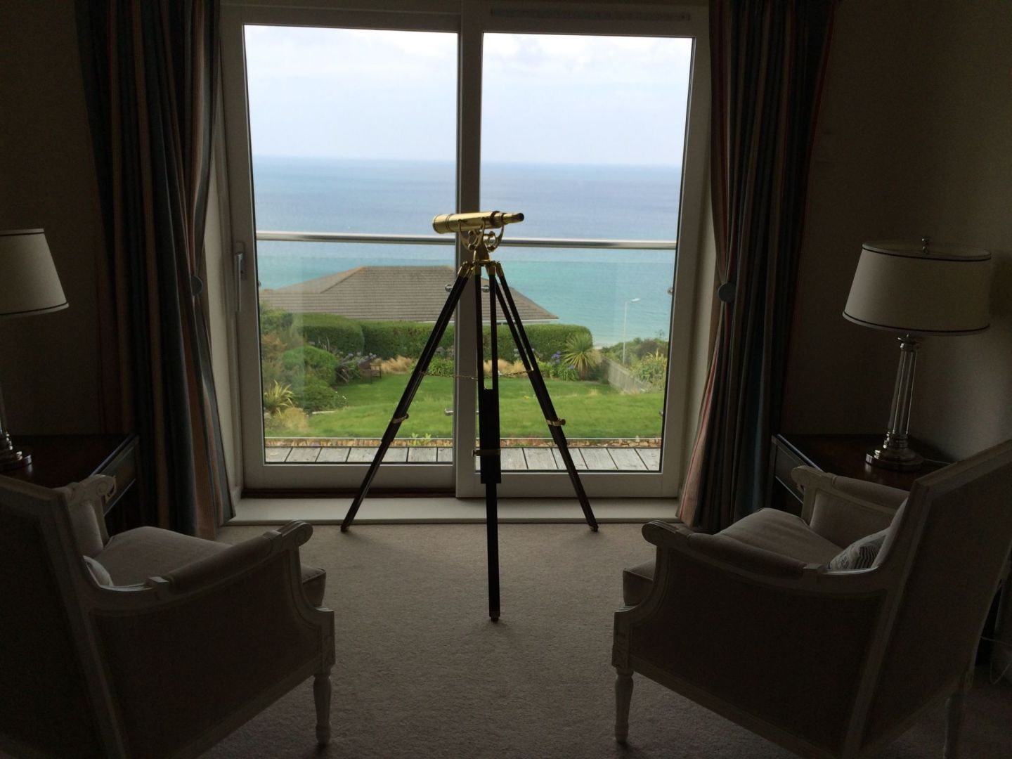 Telescope for viewing Carbis Bay, Cornwall