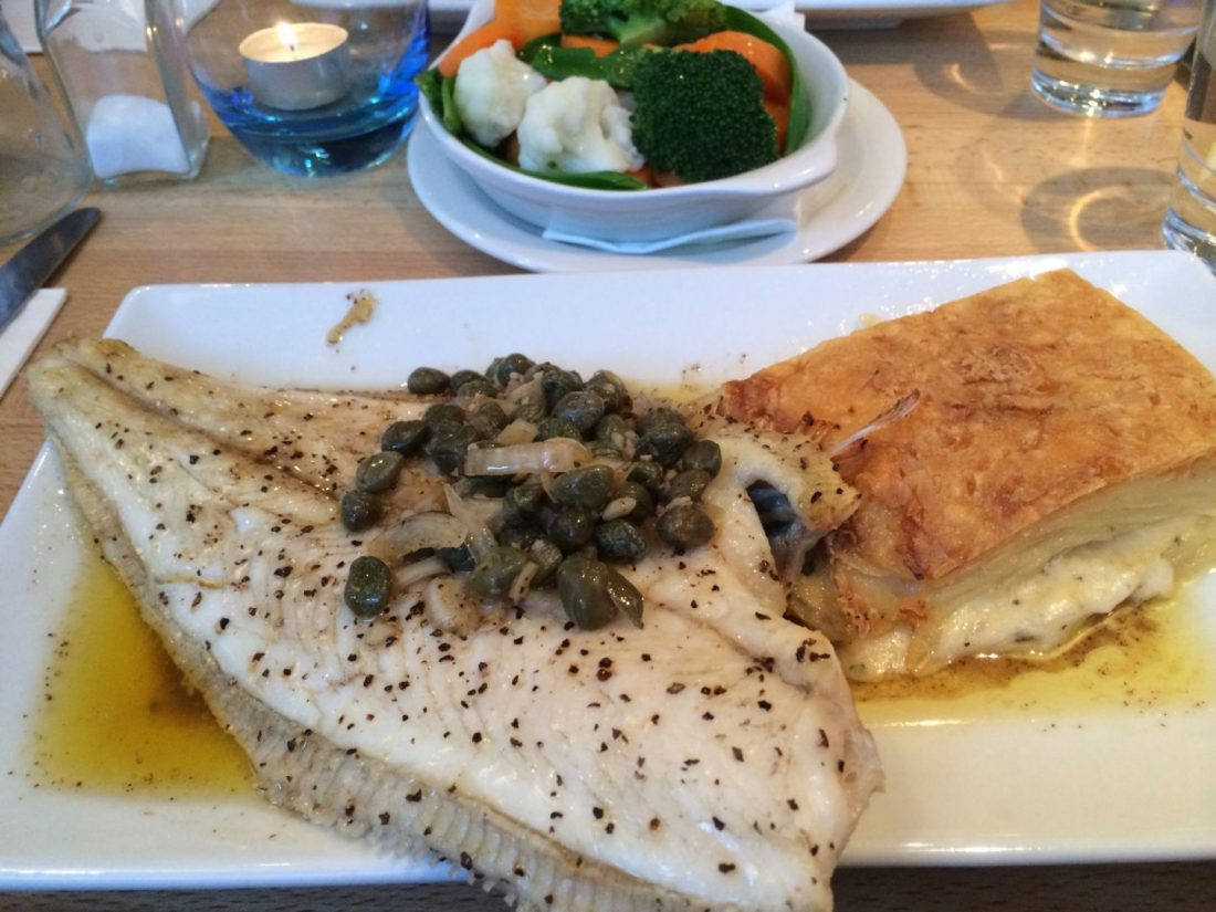Sole and potato dauphinoise at the Seafood Cafe, Cornwall