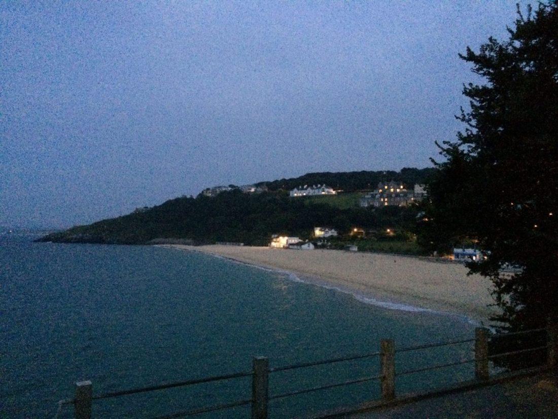 Night time views across Carbis Bay, Cornwall