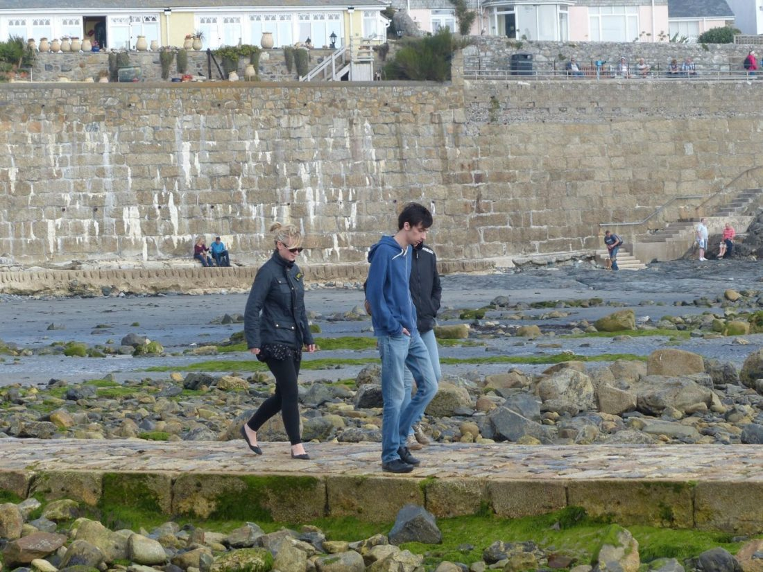 Walking the causeway to St Michaels Mount, Cornwall