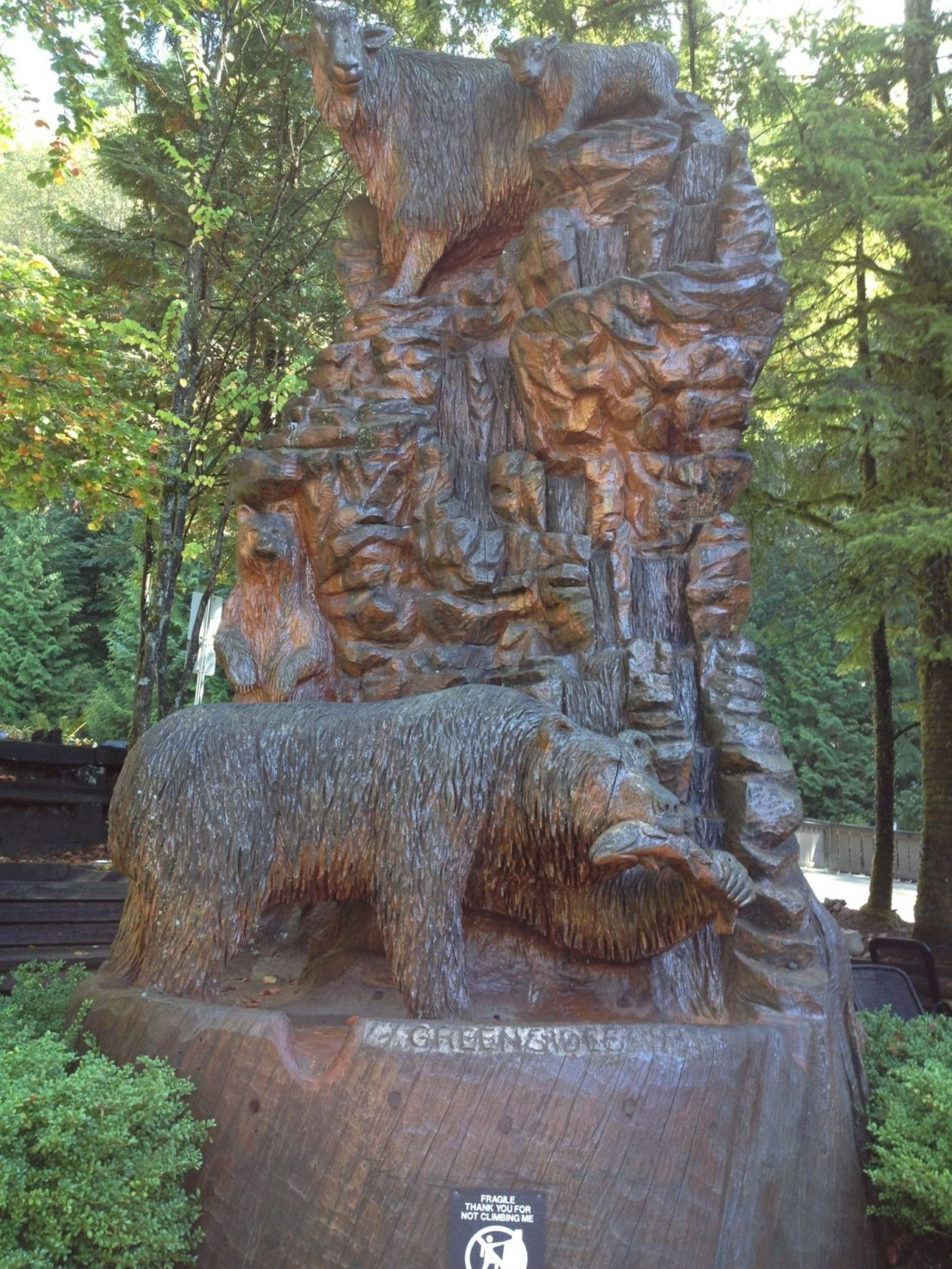 Wood carvings at the start of the Grouse Grind, Vancouver