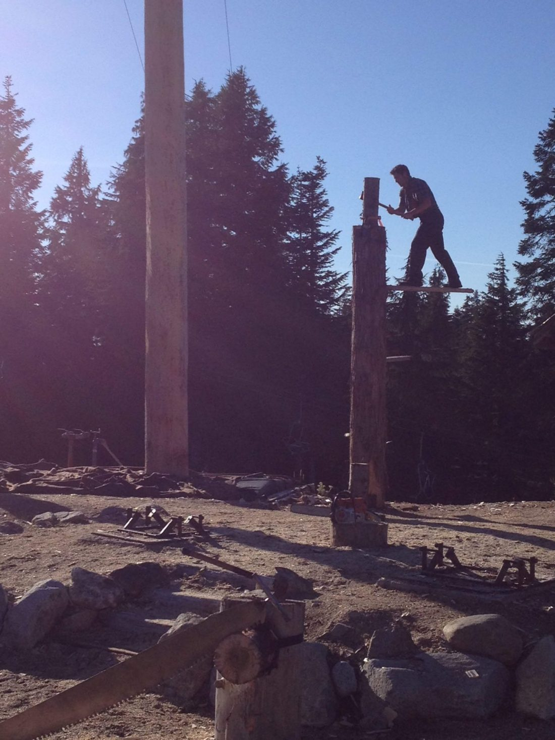 Lumberjack show at the top of the mountain in Vancouver