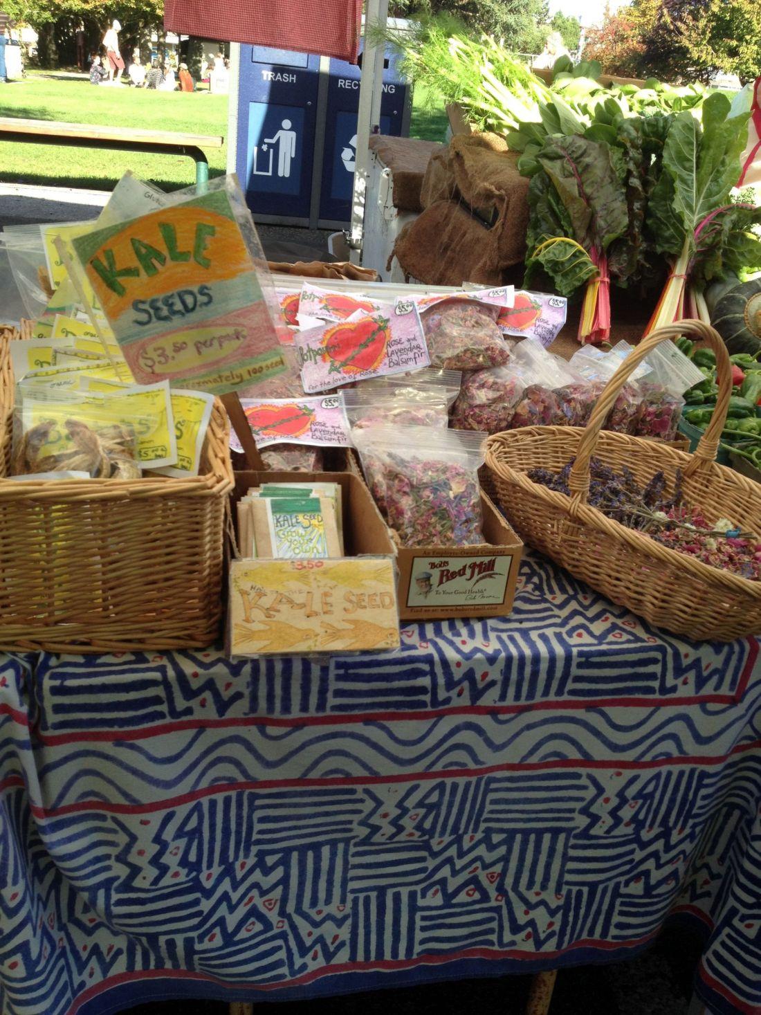 Fresh organic produce at Salt Spring Island Saturday market, British Columbia