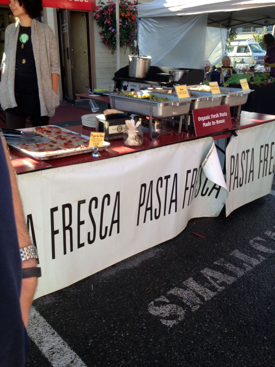 Pizza and pasta for sale on Salt Spring Island