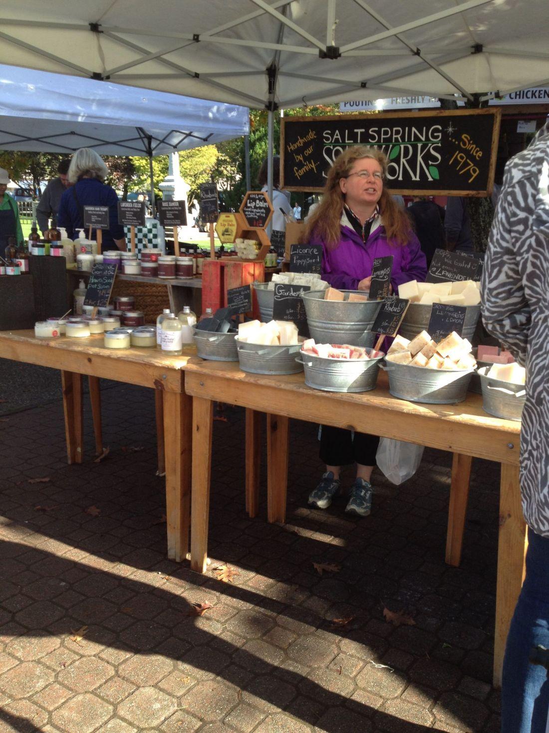 Market stalls on Salt Spring Island, British Columbia