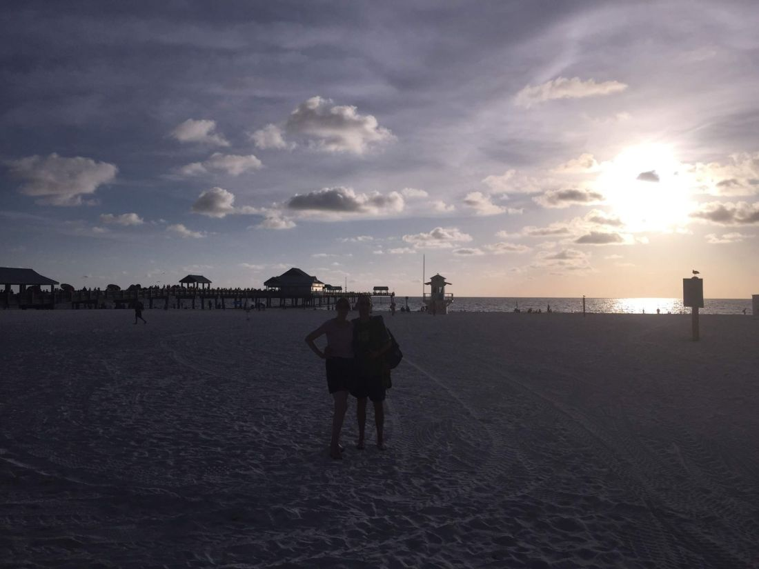 On Clearwater Beach at sunset