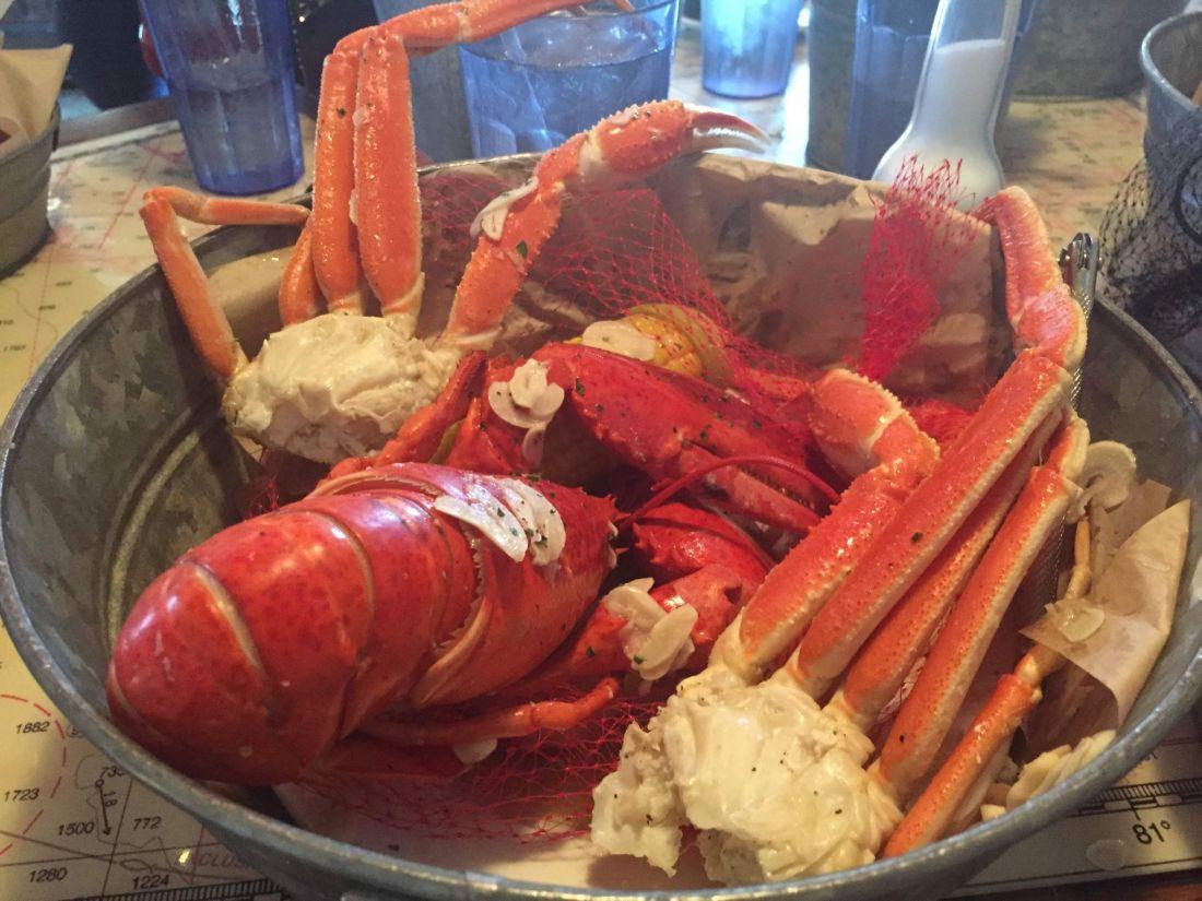 Bucket of crab at Joe's Crab Shack, Orlando