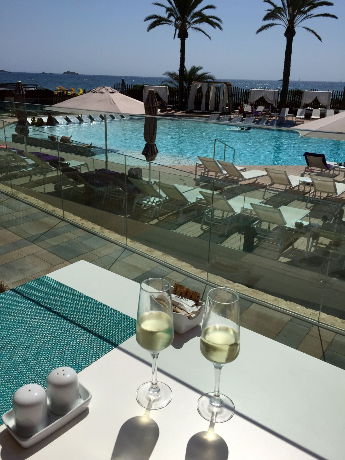 Champagne by the pool on Playa den Bossa