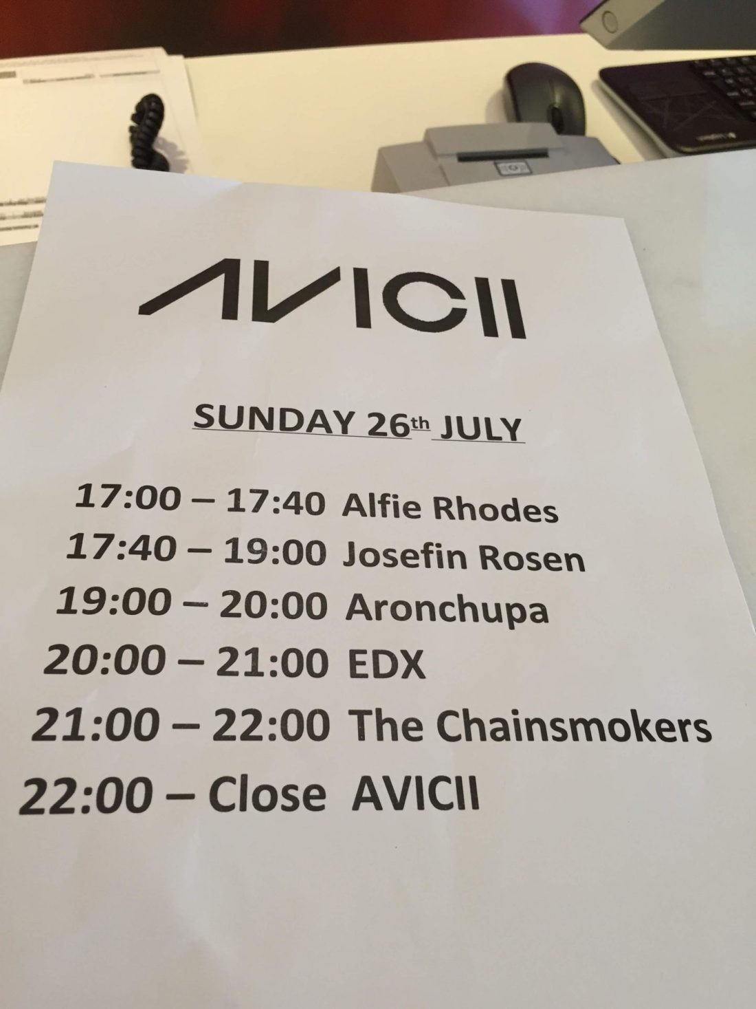 Avicii and Chainsmokers set list, Ibiza