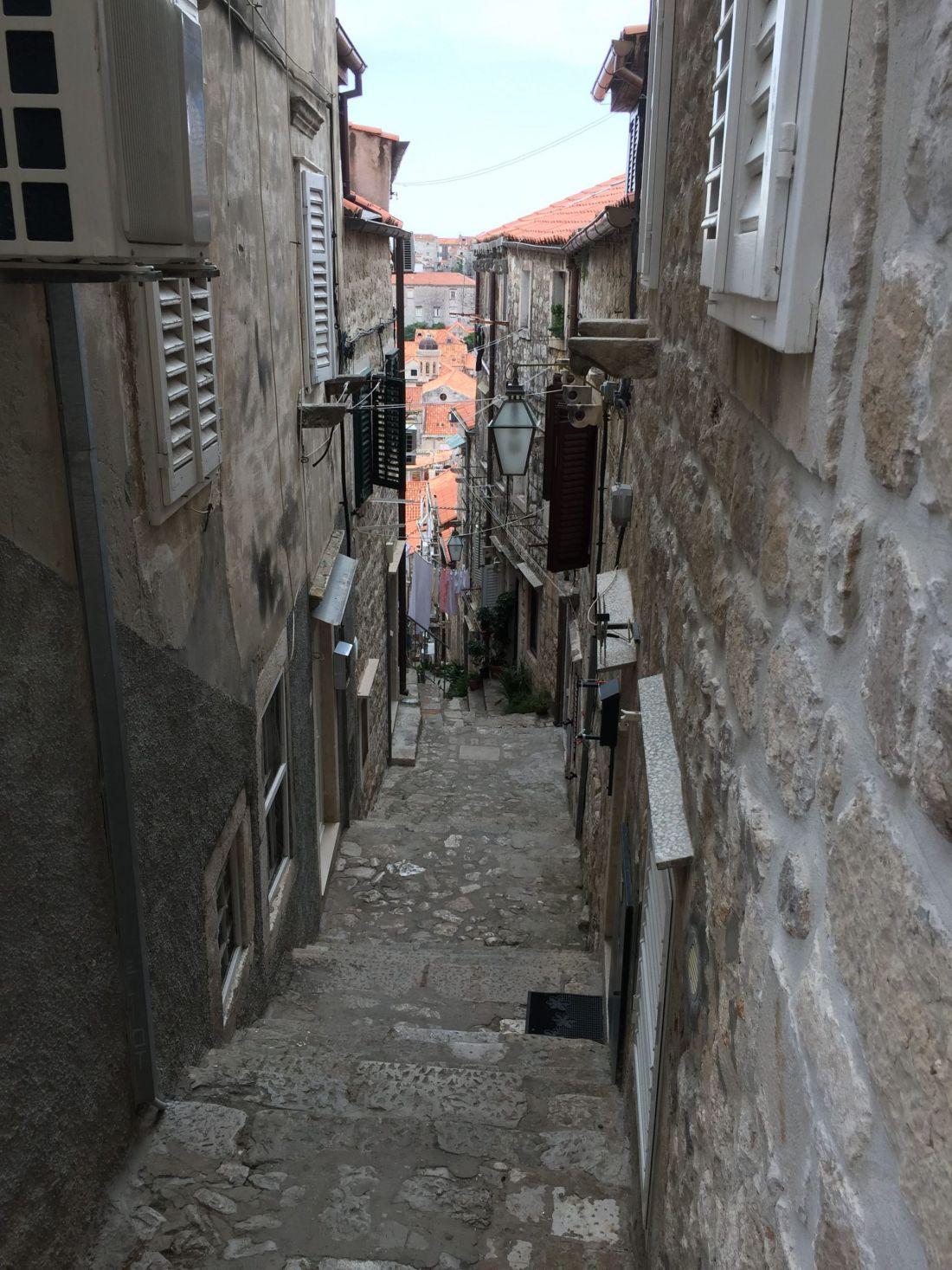 Steep streets of Dubrovnik, Croatia
