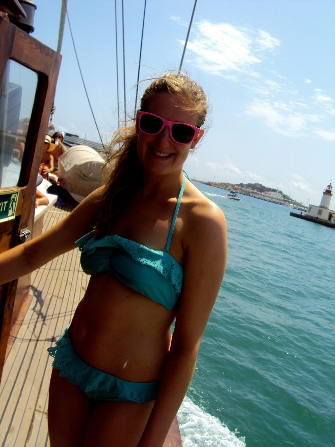 Jo on board the Pacha 67 sail boat to Formentera from Ibiza
