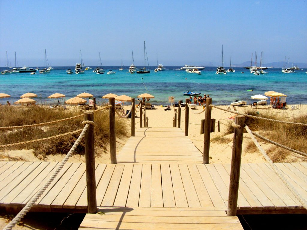 Boardwalk on Playa de ses Illetes. Formentera