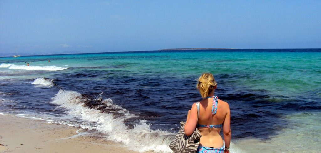 Laura on a beach at Formentera