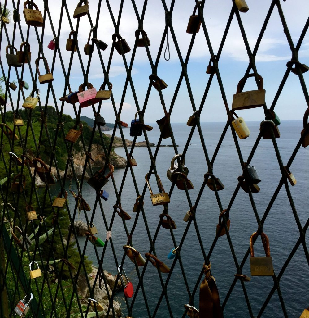 Love locks in Dubrovnik, Croatia