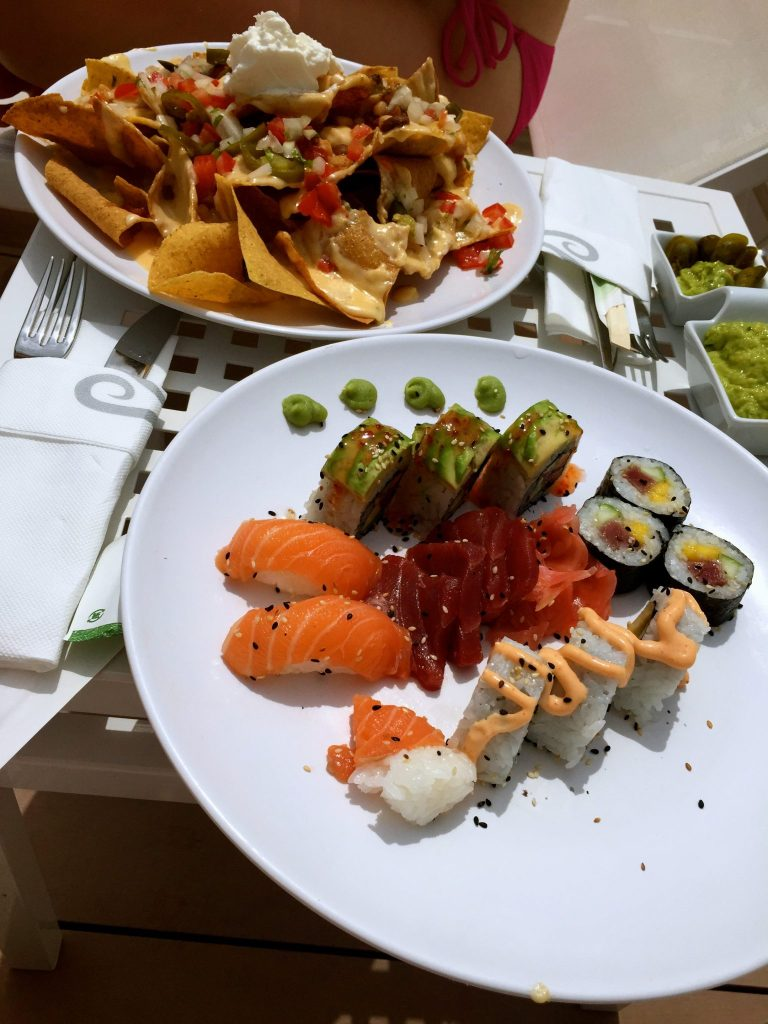 Sushi and nachos at the Hard Rock Hotel Ibiza before the Sunset Strip
