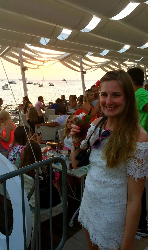 Jo enjoying the Cafe Mambo sunset on the Sunset Strip, Ibiza