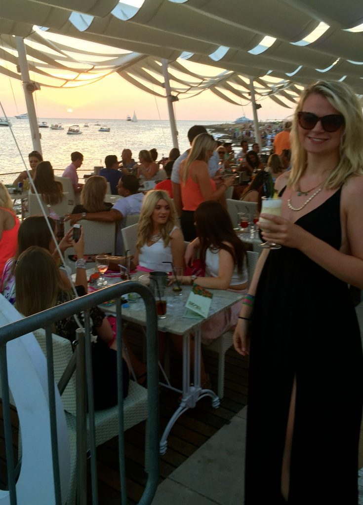 Laura catching the Cafe Mambo sunset on the Sunset Strip, Ibiza