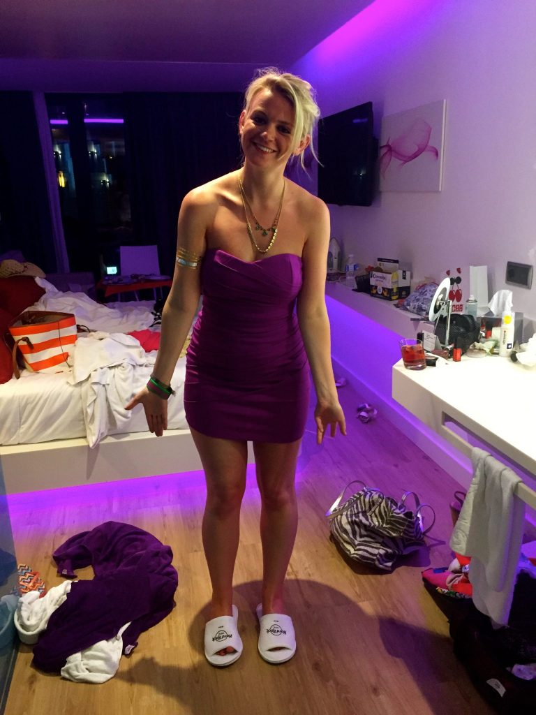 Laura ready for a night at Pacha, Ibiza after visiting the Sunset Strip